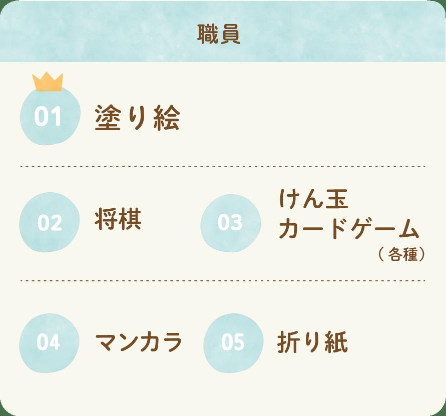 職員 01塗り絵 02将棋 03けん玉 カードゲーム(各種) 04マンカラ 05折り紙
